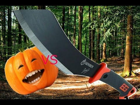 Bear Grylls machete/parang VS pumpkin noob