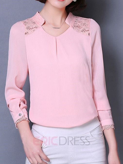 Stand Collar Neck Designs For Blouse : Lace patchwork stand collar blouse