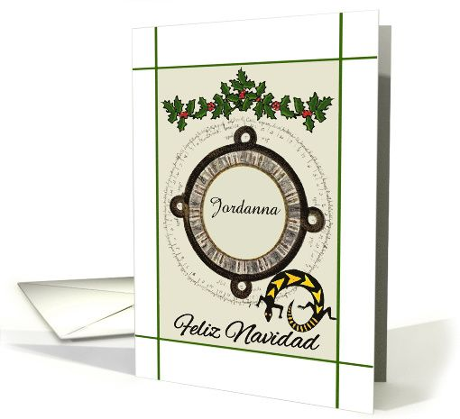 """Feliz Navidad - Spanish - Add  Your Name in Aztec Frame ---  Modern Digital art of holly, a colorful lizard and a Mayan calendar frame to add a name of your choice adorns this pretty Christmas greeting card in Spanish. You may use the inner card text """"Te deseamos una Feliz Navidad!"""" translation """"We wish you a Merry Christmas"""" or add your own special sentiments. All card cover designs can be further personalized upon Request to the Artist. ©2008-2015 SmudgeArt60"""