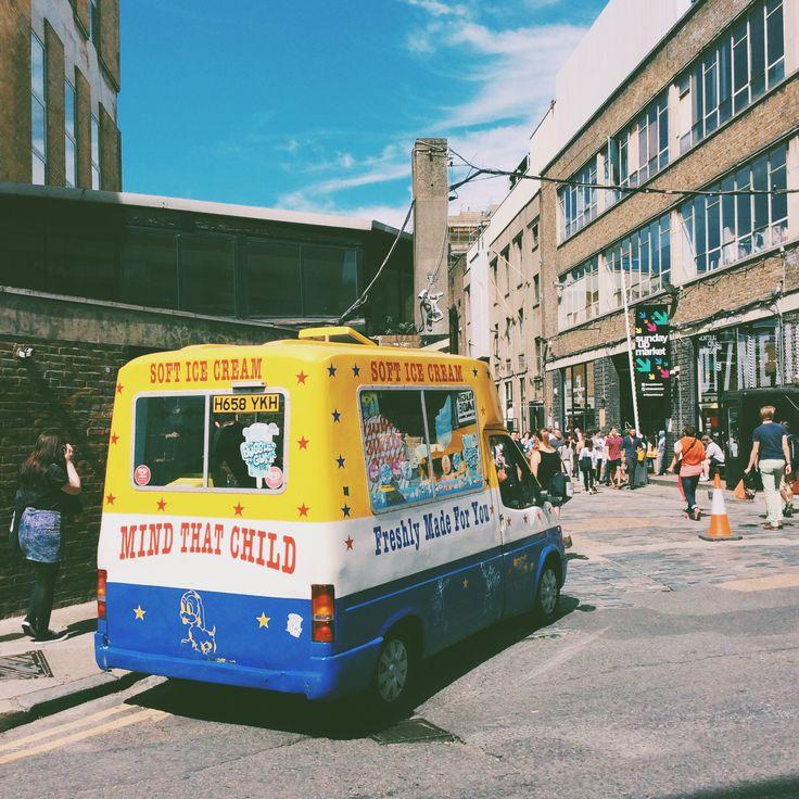 An ice cream truck at Sunday Up Market, London