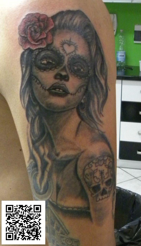 #katrina #chicano #grigio&nero #tatuaggio #montefortetattoo2016