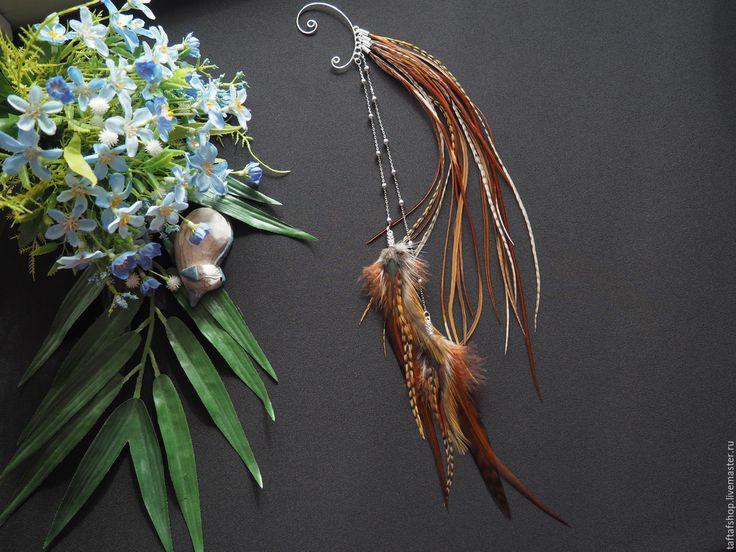 Богиня земли - коричневый кафф с длинными перьями в стиле бохо - перья, перо