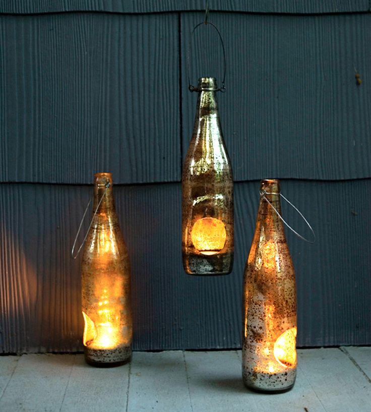 Repurposed beer bottle lanterns. Awesome! -D | Products and Tech | Pinterest | Beer bottles, Repurposed and Bottle