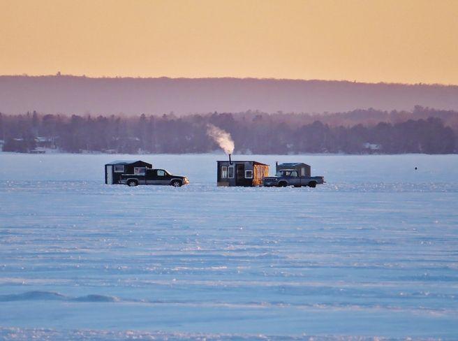 Ice fishing on Lake Nipissing, North Bay, Ontario (by Jim Middleton)