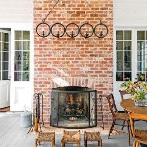 The Fireplace on screen porch