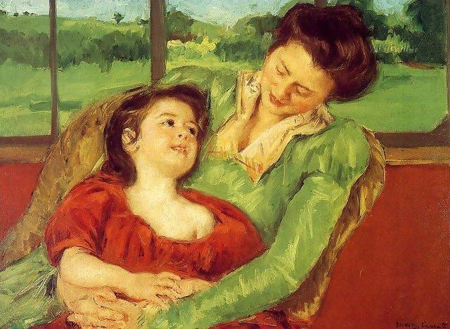 Mary Cassatt, Reine Lefebre and Margot before a Window,1902, Private Collection.