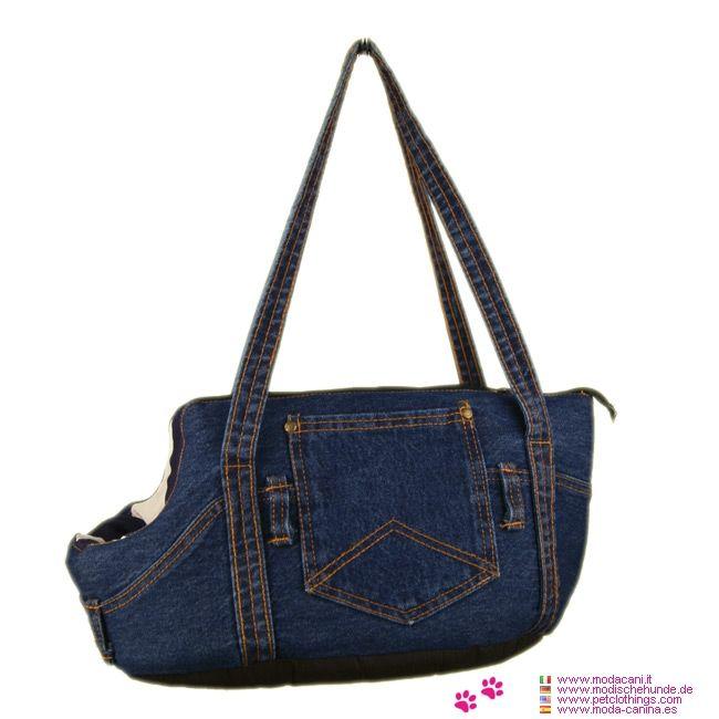 Borsa Jeans per Cani Piccoli - Borsa per Cani Piccoli in tessuto jeans: una borsa imbottita e morbida per trasportare a spalla cani di piccola taglia; lavabile, in 100% cotone