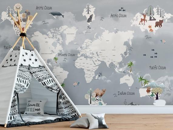 Kinder Welt Karte Wallpaper Selbstklebende Schalen Und Stick Etsy Children Room Girl Map Wall Mural Girl Room