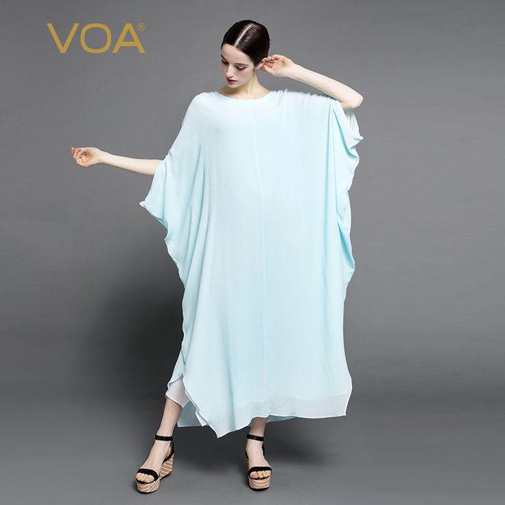 Encontrar Más Vestidos Información acerca de VOA nuevo vestido de verano 2016 de color azul claro bata de seda ancha elegante vestido de seda edición limitada tamaño A6971, alta calidad vestido de verano 2016, China elegante vestido de seda Proveedores, barato vestido de seda de VOA Flagship Shop en Aliexpress.com