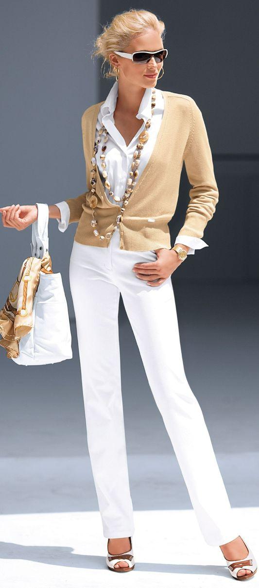 white pants, beige cardigan