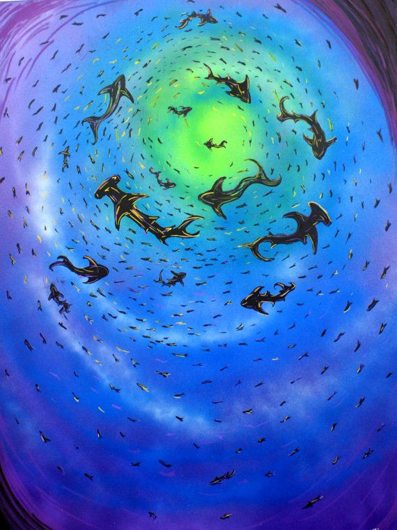 Circling Sharks Underwater Art 36x48 Large By