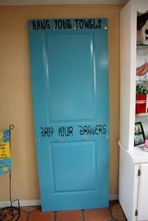 Pool Towel hangers using a door - so cute!!!