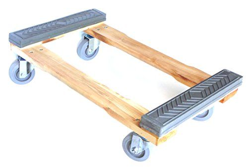 """NK Furniture Movers Dolly, Rubber End Caps, Soft Gray Non-marking TPR Wheels, 30"""" Length x 17"""" Width (5"""" TPR Wheels)"""