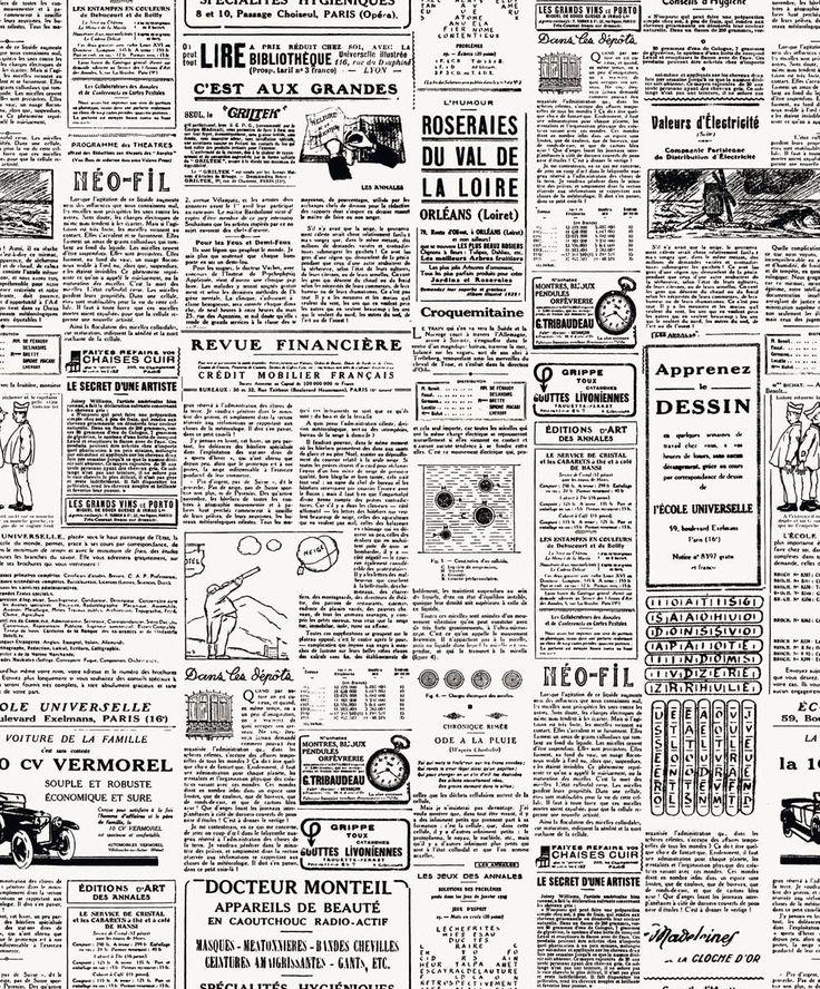 10 €  Nuova Lussuosa Francese Giornale Bianco & Nero Lusso Carta Da Parati Design | eBay