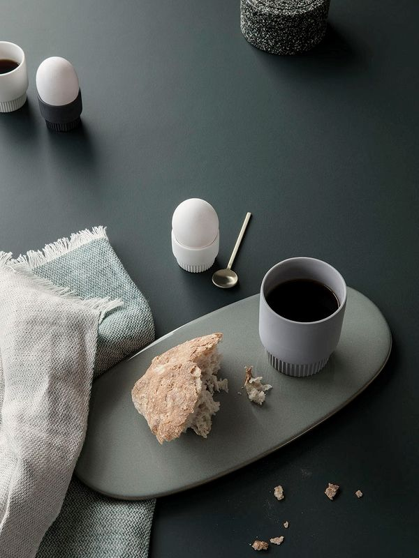 Groove Egg Cups - White - Set of 2 2