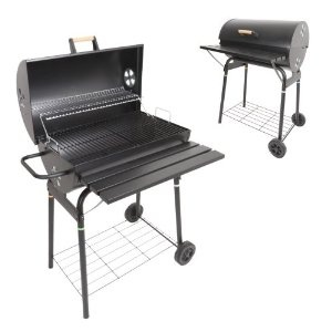 Azuma Barrel Summer Garden Grill Cooking Charcoal Patio BBQ with Wheels NEW