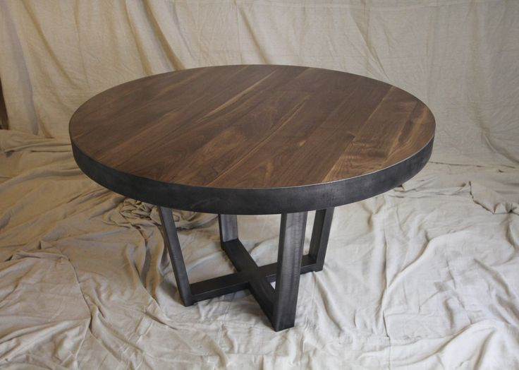 Wide Plank Walnut And Steel Table This Beautiful Hand Built Round Table Is  Made From High