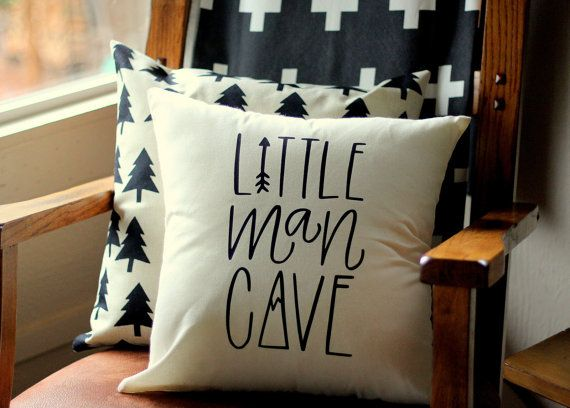 Litttle Man Cave Hand drawn Nursery Pillow Mountain Arrow Adventure Explore Forest Theme 16 x16 Trees Handwritten