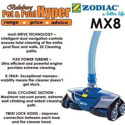 The MX8 begins a new era for automatic pool cleaners. Boasting the latest in pool-cleaning technology, it is an engineering and design masterpiece that performs in a class of its own. Every pool owner deserves to experience the awesome performance of the MX8. Available from Pet & Pool Hyper Boksburg. #mx8 #poolcleaners