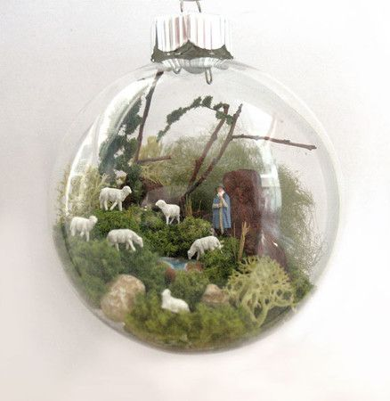 A Shepherd with Sheep Scene Glass Ornament | Sumally