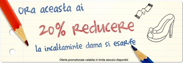 Prima reducere de azi este de 20% la încălţăminte damă şi eşarfe! Reducerea este valabilă intre orele 12-13 în limita stocului disponibil. Vă aşteptăm!