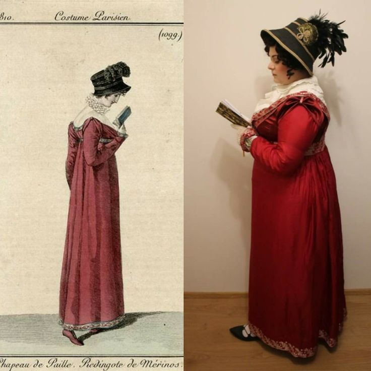 Regency red silk day dress with chemisette and hat. Made according to the fashion plate 1810.
