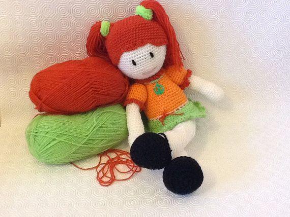 Amigurumi doll with red hair by EvalestAmigurumi on Etsy