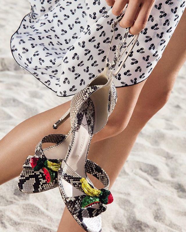 Fruits for beach parties in Vogue June.  Photo: @EduardoRezende Style: @Zolototrubova./ Сезон летних вечеринок объявляем открытым: выбирайте босоножки с сочными фруктами - бананами и арбузами - и танцуйте до упаду.  via VOGUE RUSSIA MAGAZINE OFFICIAL INSTAGRAM - Fashion Campaigns  Haute Couture  Advertising  Editorial Photography  Magazine Cover Designs  Supermodels  Runway Models