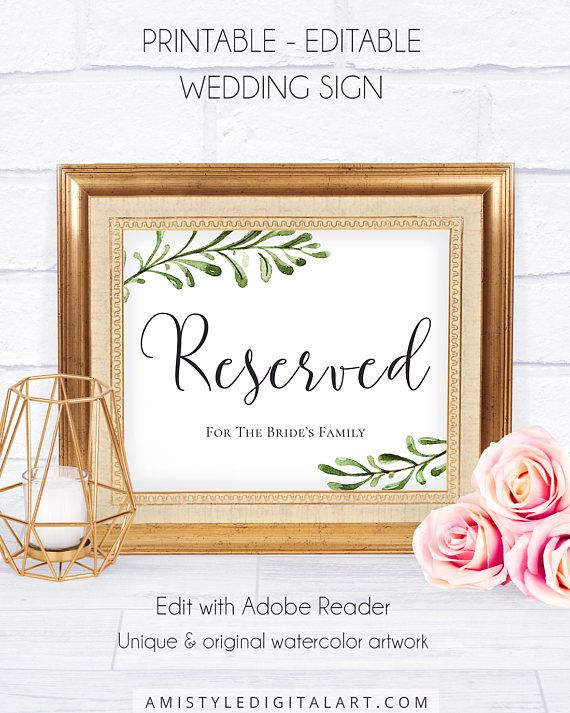 Wedding Reception Wedding Signs, with refined and trendy watercolor botanical design graphics for your beautiful natural style weddingThis lovely wedding signage is an instant download EDITABLE PDF so you can download it right away, DIY edit and print it at home or at your local copy shop by Amistyle Digital Art on Etsy