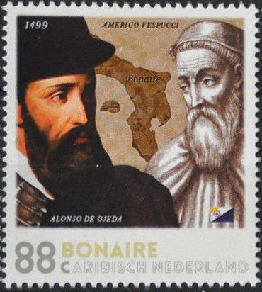 Stamp: Alonso de Ojeda and Amerigo Vespucci (Caribbean Netherlands) (Bonaire) Mi:BQ-BO 21