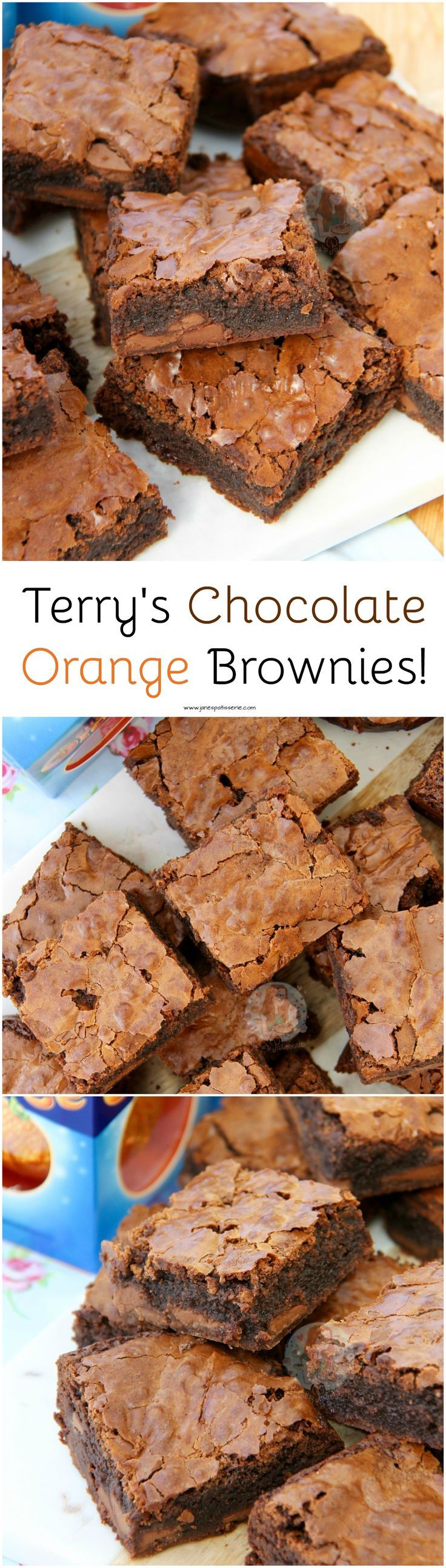 Terry's Chocolate Orange Brownies!! :heart: Moist, Chocolatey and Delicious Brownies with a hint of Orange, dotted with Terry's Chocolate Orange Chunks!