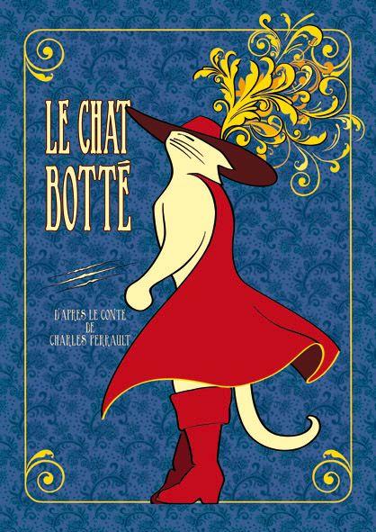 Affiche du Chat Botté (Puss in Boots) 1937 Indigo; illustration vintage d'après le conte de Charles Perrault. © Le Chat à Botter
