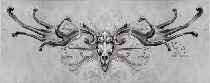 Tattoo sketch / Тату эскизы Tattoo ideas / Тату идеи  Олень Deer BW ЧБ monochrome череп skull рога horns