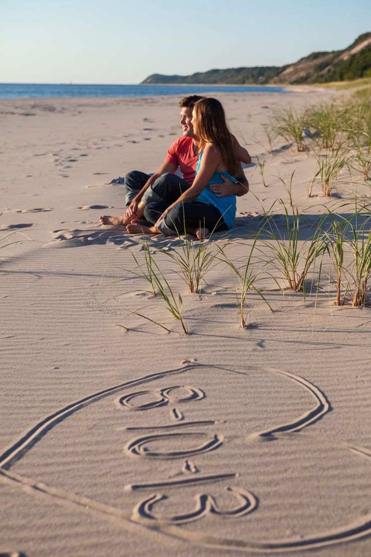 Northern Michigan engagement photo, beach engagement photo, Frankfort, MI
