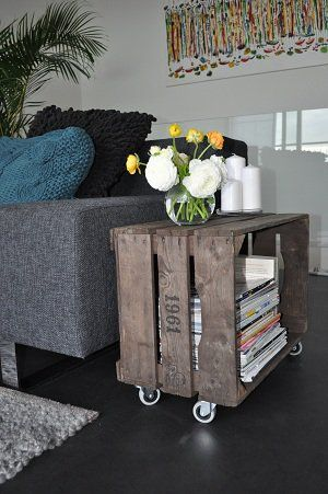 Living room or Master Bedroom option: Turn crate on its side, after sanding and staining, then add wheels.