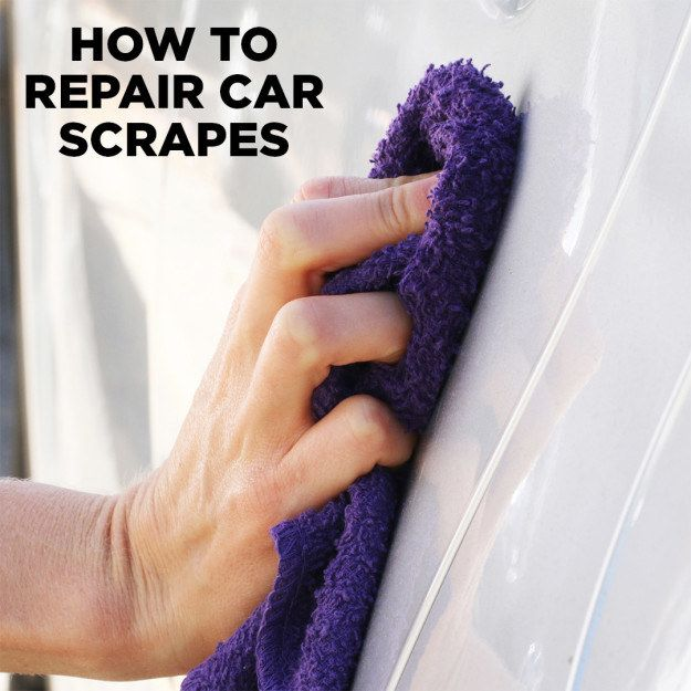 Use non-acetone nail polish remover as a quick fix for some types of scratches. | 23 Ways To Clean Up and Organize Your Embarrassment Of A Car