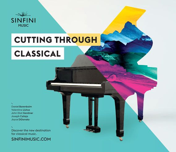 An advert promoting online classical music magazine, Sinfini, designed by creative agency Studio Output..