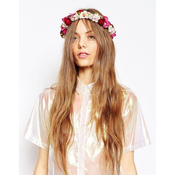 ASOS Wedding Vintage Flower Hair Garland (48 CAD) ❤ liked on Polyvore featuring accessories, hair accessories, multi, flower crown, asos, vintage crown, floral crown and flower garland