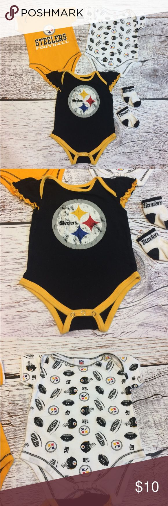 🏉 Pittsburgh Steelers Infant Lot Pittsburgh Steelers Infant Lot. All in VGUC-one untreated spot on yellow onesie(see picture). Bottom is 6/9 mo & top two are 0/3 but run big(see last picture). Super cute for any future Steelers fan! One Pieces