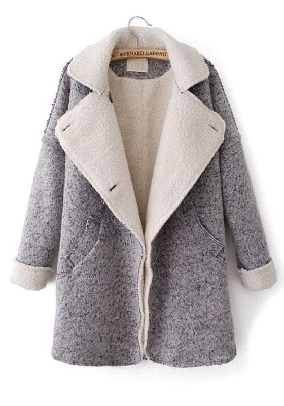 ++ grey pockeets turndown collar long sleeve wool coat