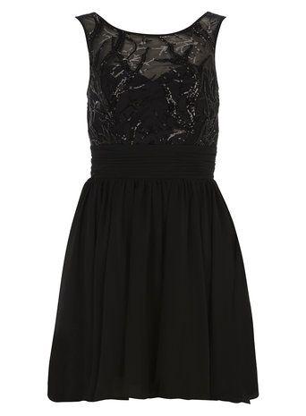 Chase 7 Black Sequin Embellished Dress