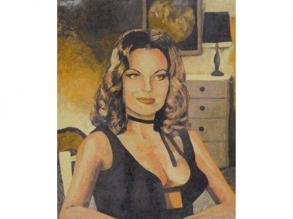Portrait en stucco polychrome de Romy Schneider