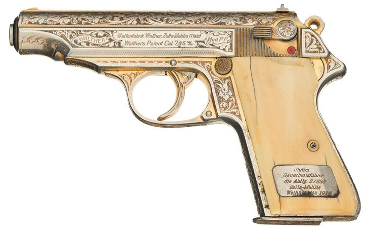An engraved and gold washed Nazi Party presentation Walther PP pistol with ivory grips, dated 1934.