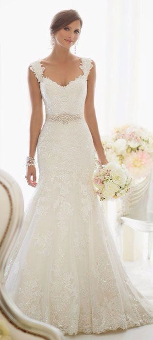 it's got the thick straps, belted waist, perfect scooped neckline and silhouette. This is my wedding dress