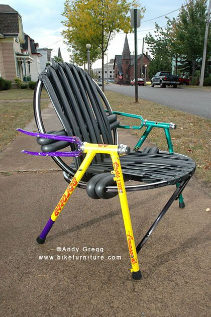 "Bike Furniture Design - Stuffed Chair - made from ""stuffed"" frames (damaged from hitting something, like a deer!)"