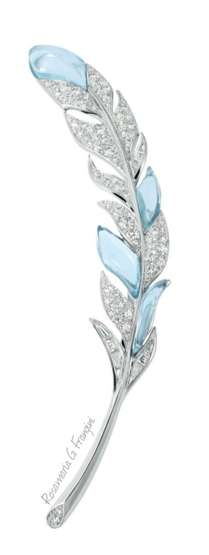 RosamariaGFrangini | HighJewellery Classic | TJS | Aquamarine and Diamond Leaf Brooch