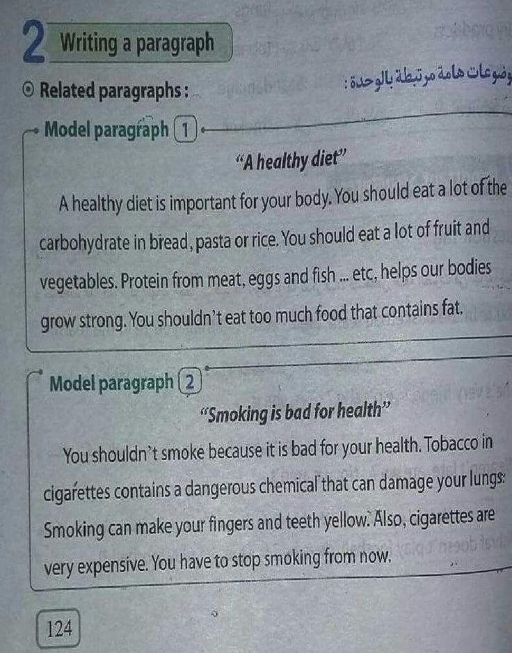 Paragraphs on health and nutrition