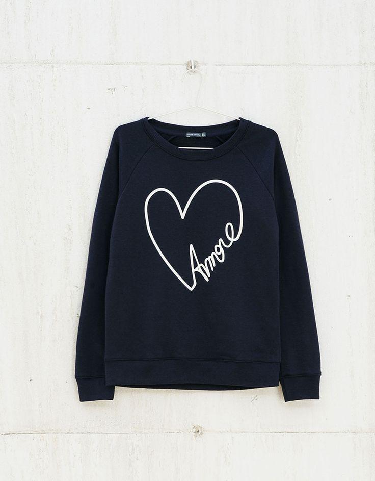 Raglan sleeve text print sweatshirt - Sweatshirts - Bershka Serbia