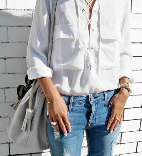 Lace up white blouse  | @sharmtoaster