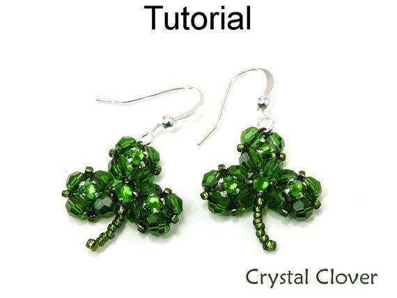 Beading Pattern Tutorial Clover Pendant Earrings Beaded Crystal Shamrock Swarovski Bead St Patricks Day Irish Jewelry #4929